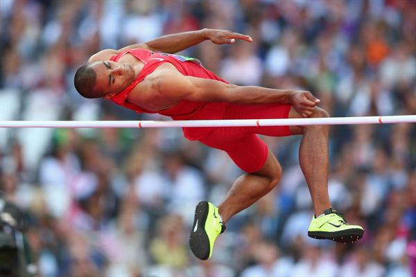 Ashton Eaton of the United States competes in the Men's Decathlon High Jump on Day 12 of the London 2012 Olympic Games at Olympic Stadium on August 8, 2012  (Getty Images)