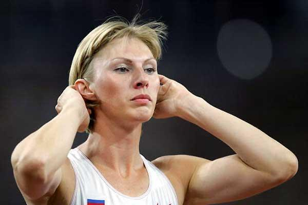 Yuliya Pechonkina (World 400m Hurdles record holder) third leg of the Russian 4 x 200m record team in Glasgow (AFP/Getty Images)