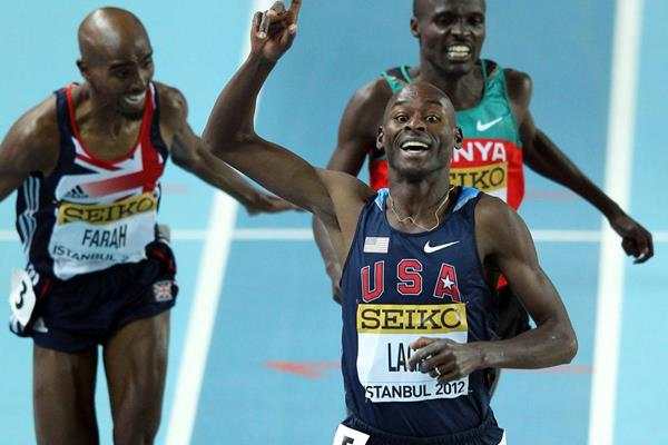Bernard Lagat celebrates as he crosses the line to win gold ahead of Mo Farah and Edwin Sol in the men's 3000m in Istanbul (Getty Images)