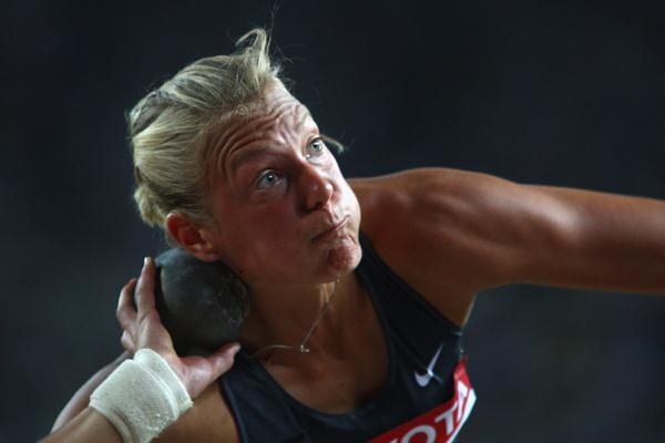 Jennifer Oeser of Germany during the Heptathlon Shot Put (Getty Images)