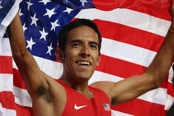 Leonel Manzano of the United States celebrates after winning silver in the Men's 1500m Final on Day 11 of the London 2012 Olympic Games at Olympic Stadium on August 7, 2012 (Getty Images)
