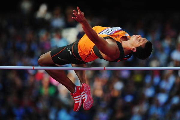 Eelco Sintnicolaas of Netherlands competes in the Decathlon High Jump at the London 2012 Olympics (Getty Images)