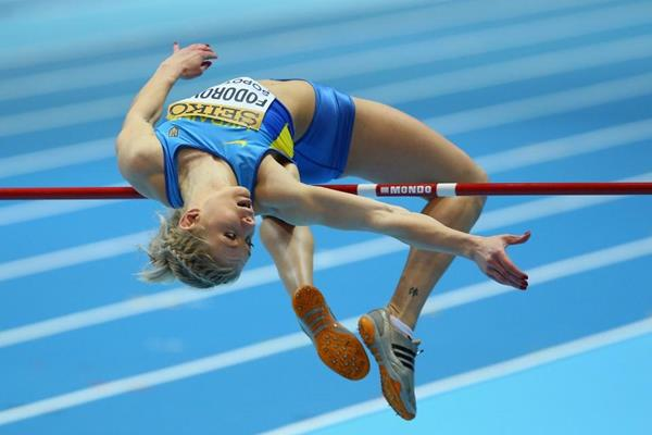 Alina Fodorova in the pentathlon high jump at the 2014 IAAF World Indoor Championships in Sopot (Getty Images)