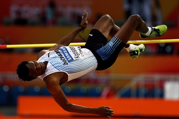Kabelo Kgosiemang of Botswana clears the bar in the men's high jump qualification (Getty Images)