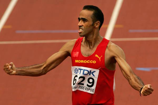 Jaouad Gharib of Morocco celebrates winning the men's marathon (Getty Images)