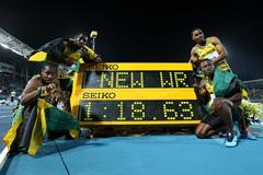 Jamaica's World record-setting 4x200m quartet at the 2014 IAAF World Relays (Getty Images)
