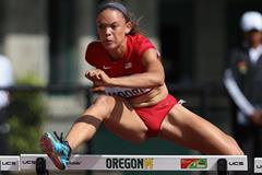 USA's Ashlee Moore in the heptathlon 100m hurdles at the 2014 IAAF World Junior Championships in Eugene (Getty Images)
