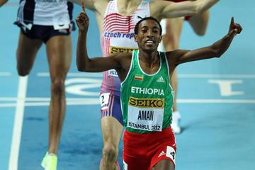 Mohammed Aman of Ethiopia celebrates as he wins gold in the Men's 800 Metres - WIC Istanbul (Getty Images)