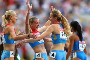 Russian Relay Team in the women's 4x400m at the IAAF World Championships Moscow 2013 (Getty Images)