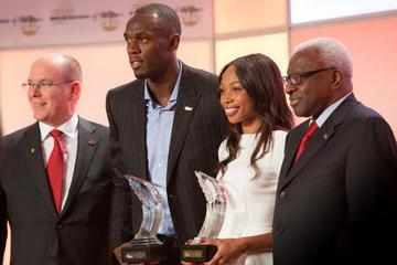 HSH Prince Albert of Monaco, Usain Bolt, Allyson Felix and IAAF President Lamine Diack at the 2012 Athlete of the Year Ceremony (Philippe Fitte)