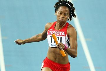 Michelle-Lee Ahye of Trinidad & Tobago and her team are qualified for the women's 4x100 metres relay final (Getty Images)