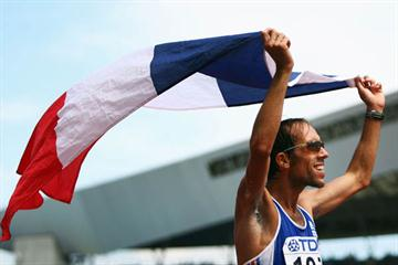 Yohan Diniz of France celebrates winning silver in the 50km Race Walk (Getty Images)
