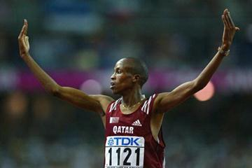 Saif Saaeed Shaheen of Qatar celebrates winning the 3000m steeplechase (Getty Images)