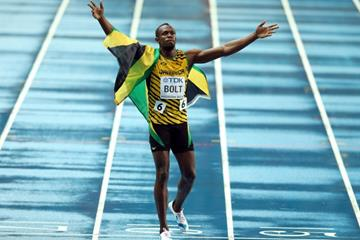 Usain Bolt in the mens 100m Final at the IAAF World Championships Moscow 1013 (Getty Images)