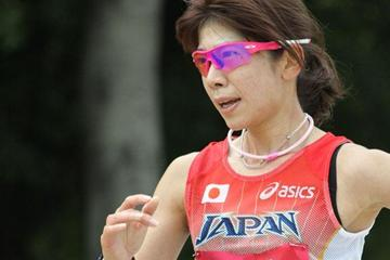 Mayumi Kawasaki en route to her Asian title in the 20Km Race Walk (David Tarbotton)