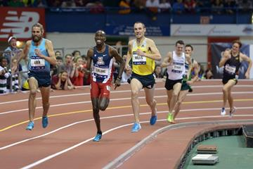 Will Leer wins the Wanamaker Mile at the 2014 Millrose Games (Kirby Lee)