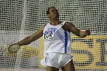Robert Fazekas winning the Discus Throw in Madrid (Getty Images)
