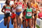 (L-R) Irene Jelagat of Kenya, Natalya Evdokimova of Russia and Gelete Burka of Ethiopia in the women's 1500m heats at the IAAF World Championships in Berlin (Getty Images)