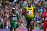 Usain Bolt of Jamaica leads Noah Akwu of Nigeria and Isiah Young of the United States in the Men's 200m Round 1 Heats on Day 11 of the London 2012 Olympic Games on 7 August 2012 (Getty Images)