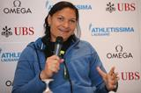 Valerie Adams at the press conference ahead of the 2014 IAAF Diamond League meeting in Lausanne (Giancarlo Colombo)
