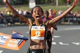 A happy debutante indeed! Meseret Defar takes the Philadelphia Half Marathon in 1:07:44 (Victah Sailer)