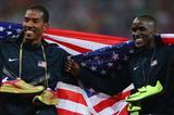 Gold medallist Christian Taylor celebrates with silver medallist Will Claye after the men's Triple Jump final (Getty Images)