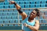 Cleopatra Borel-Brown at the Hasely Crawford Stadium, winning an 18.29 metres effort. (Curtis Chase - Trinidad Express)