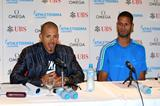 Felix Sanchez and Javier Culson at a press conference ahead of the 2013 Lausanne Diamond League (Gladys Chai)