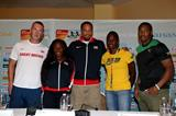 Richard Kilty, Bianca Knight, Wallace Spearmon, Kerron Stewart and Yohan Blake at the press conference ahead of the IAAF World Relays in Nassau (Getty Images)