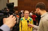 Sally Pearson speaks to the press ahead of the 2014 IAAF World Indoor Championships in Sopot (Getty Images)