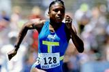 Pauline Davis of the Bahamas in the 100m at the 1991 IAAF San Jose Grand Prix in California (Getty Images)