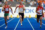 (L-R) Andrei Krauchanka of Belarus, Moritz Cleve of Germany and Daisuke Ikeda of Japan in action during the Decathlon 100m (Getty Images)