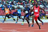 Richard Thompson sets a national record of 9.82 to win the Trinidad and Tobago 100m title (Stephen Doobay / Trinidad Express)