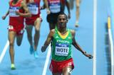 Aman Wote wins his 1500m heat at the 2014 IAAF World Indoor Championships in Sopot (Getty Images)