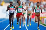 (L-R) Sylvia Jebiwott Kibet of Kenya, Sentayehu Ejigu and Meselech Melkamu of Ethiopia in the women's 5000m heats (Getty Images)