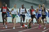 Youssef Baba of Morocco and Daniel Kipchirchir Komen of Kenya collide and fall during their Men's 1500m Semi Finals (Getty Images)