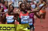 Hellen Obiri breaks the 1500m meeting record at the IAAF Diamond League meeting in Eugene (Kirby Lee)