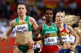 Gelete Burka of Ethiopia and Roseanne Galligan of Ireland compete in the women's 1,500m (Getty Images)