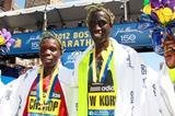Wesley Korir and Sharon Cherop the victors at the 2012 BAA Boston Marathon (Victah Sailer)