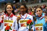 The women's long jump medallists at the 2014 IAAF World Indoor Championships in Sopot (Getty Images)