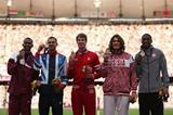 2012 Olympic High Jump medallists Mutaz Essa Barshim, Robbie Grabarz, Derek Drouin, Ivan Ukhov and Erik Kynard (Getty Images)