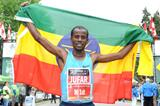 Tariku Jufar after winning the 2013 Ottawa Marathon (Victah Sailer - organisers)