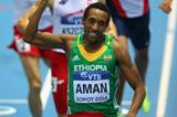 Mohammed Aman wins the 800m at the 2014 IAAF World Indoor Championships in Sopot (Getty Images)