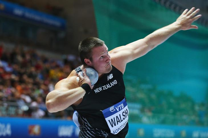 Tomas Walsh competing in the shot put in Sopot ()